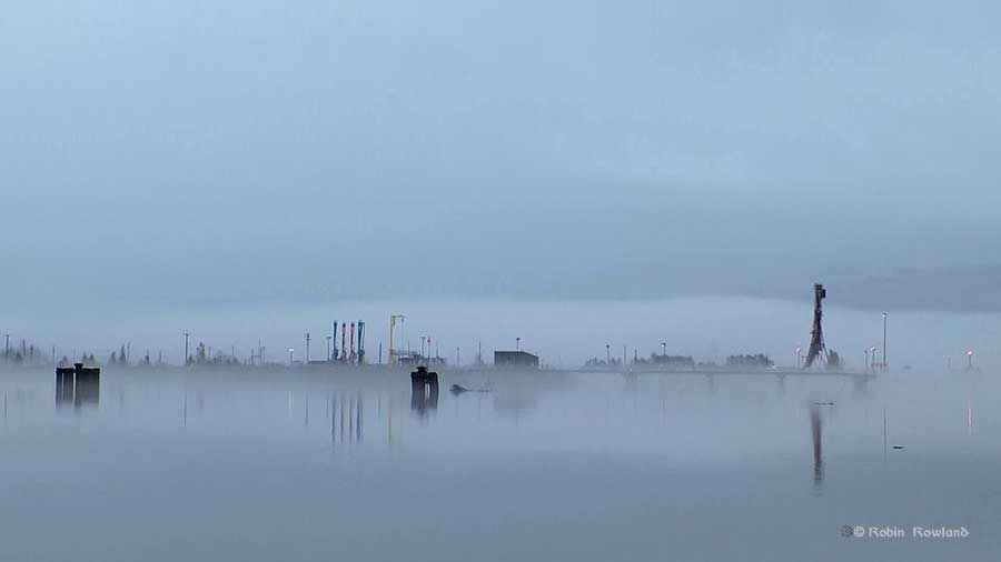 Fog blankets a dock in Kitimat, BC October 8, 2015, in the calm after the passing of Hurricane Oho. (Robin Rowland)