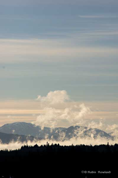Sea smoke mushroom cloud over Kitimat