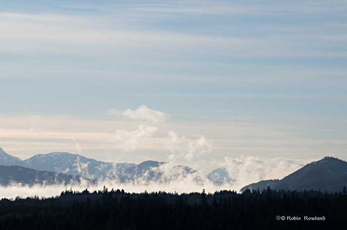 Columns of sea smoke rise from Kitimat harbour