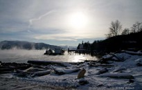 Sea smoke at Nechako dock Kitimat harbour