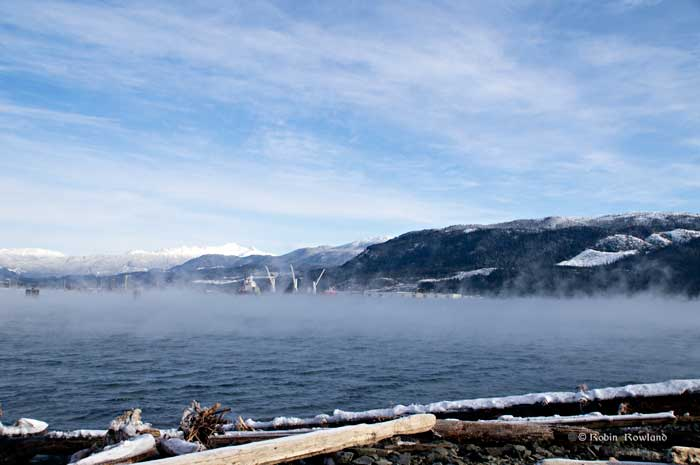 Sea  smoke in Kitimat harbour