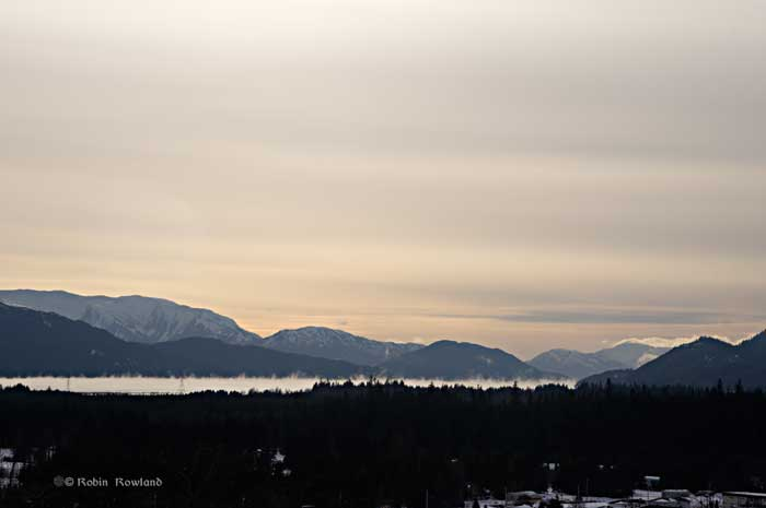 Sea smoke at Kitimat harbour, Jan. 19, 2012