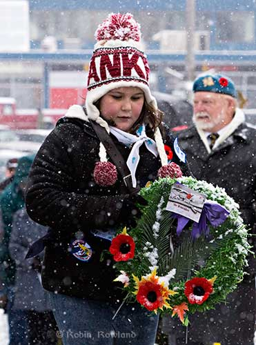 Girl Guide lays wreath at Remembrance Day