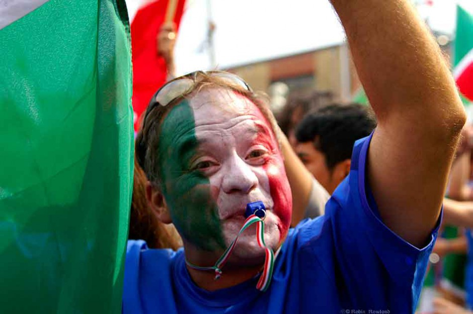 A fan celebrates in Toronto's  Little Italy after Italy beat France to take the World Cup, Sept. 7, 2006.  (Robin Rowland, shot for CBC News)