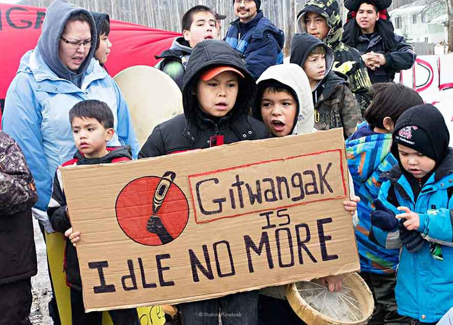 Members of the Gitxsan First Nation block the CN railway line at Kitwanga, BC as part of  the Idle No day of protest  Jan 16, 2013  (Robin Rowland, shot for The Canadian Press)