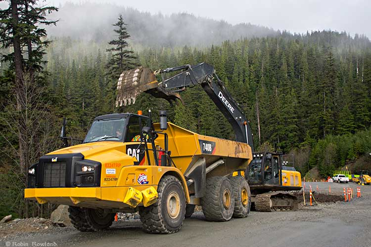 Ledcor crew working on the Bish Cove Forest Service Road upgrade, Oct. 12, 2014. (Robin Rowland)