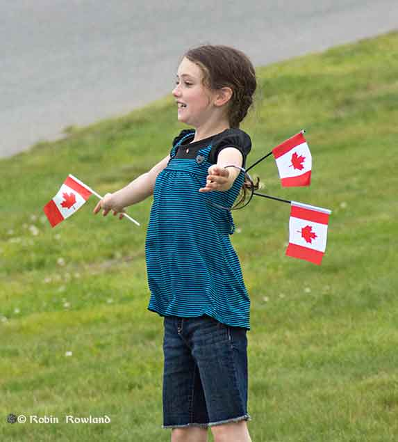 Girl celebrates Canada Day