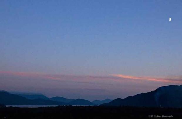 Quarter moon over Douglas Channel Kitimat