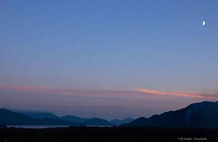 Quarter moon over Douglas Channel Kitimat