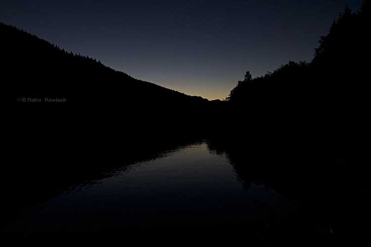 Last of the twilight and sunset at Clio Bay and Douglas Channel, BC, 8:41 p.m. Sept. 14, 2013 (Robin Rowland)