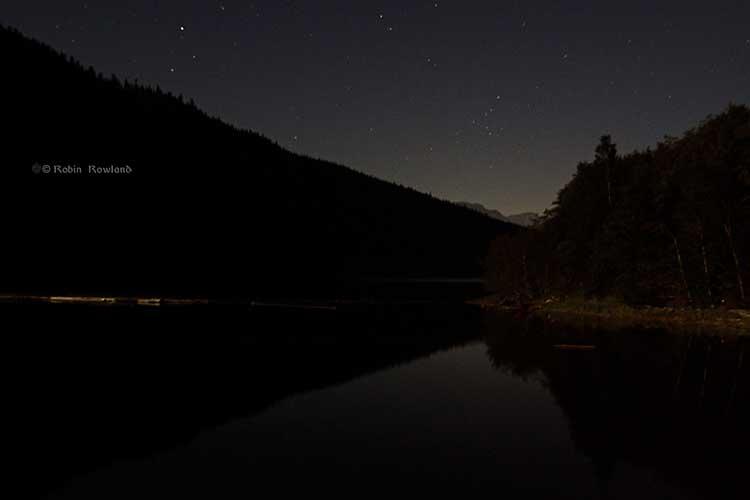 Stars over Clio Bay and Douglas Channel, 9:40 p.m.  (Robin Rowland)