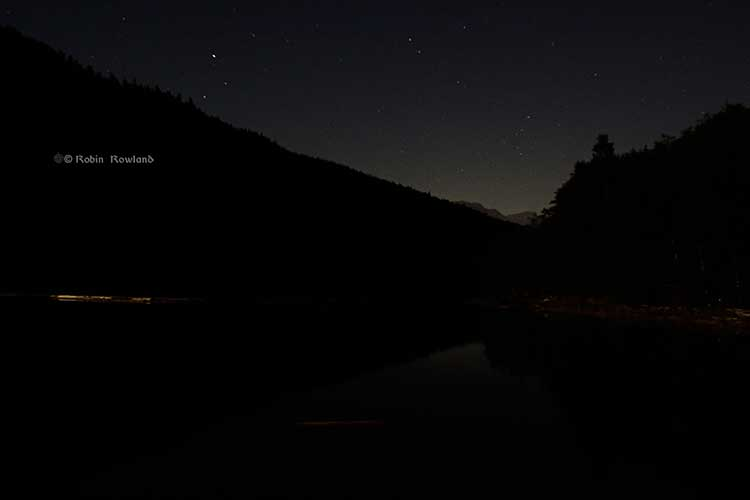Stars over Clio Bay, Douglas Channel, BC, 9:50 p.m. Sept. 14, 2013. (Robin Rowland)