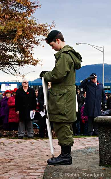 Army cadet at Remembrance Day