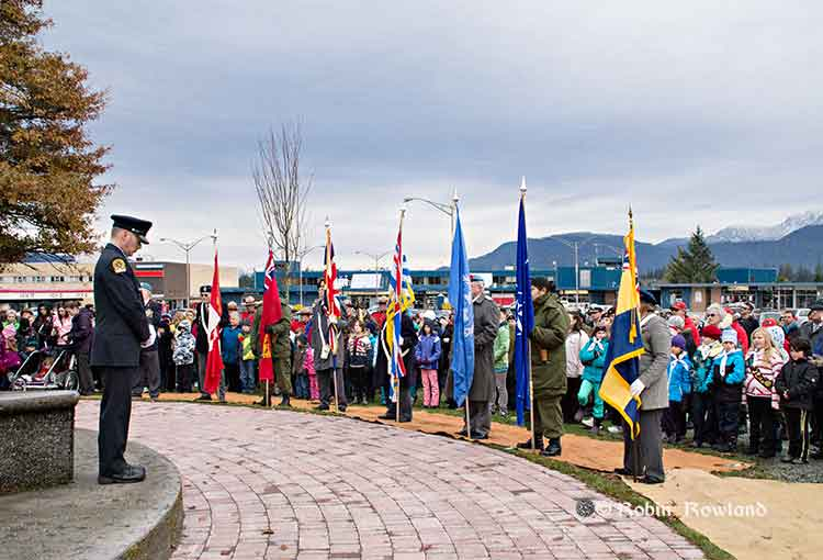 Colour party at Remembrance Day
