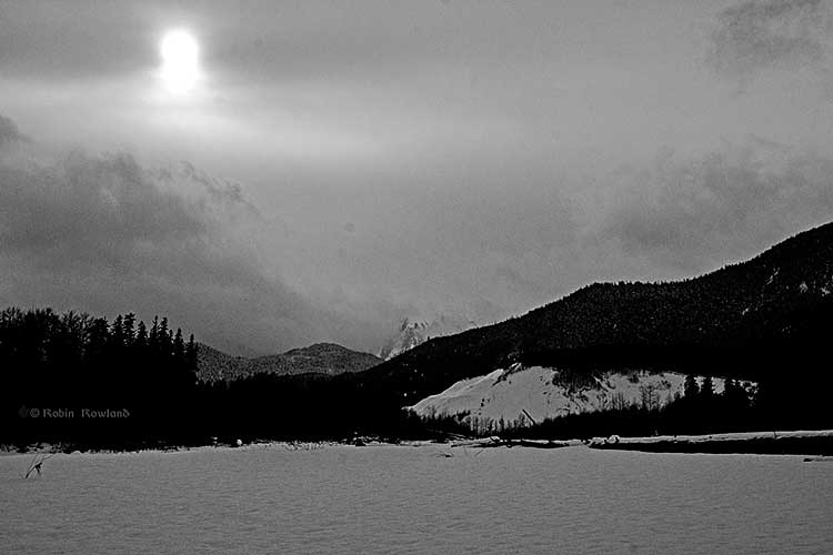 Kitimat River and Sand Hill, sunset, February 20, 2014