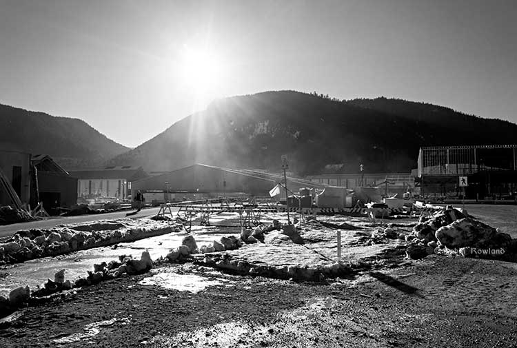 Kitimat Modernization Project  aluminum smelter upgrade in black and white