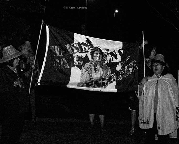 Haisla members with flag