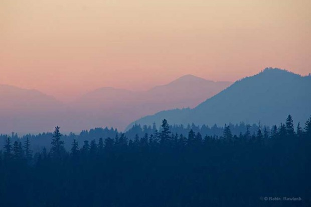 Sun set on smoky day in Kitimat