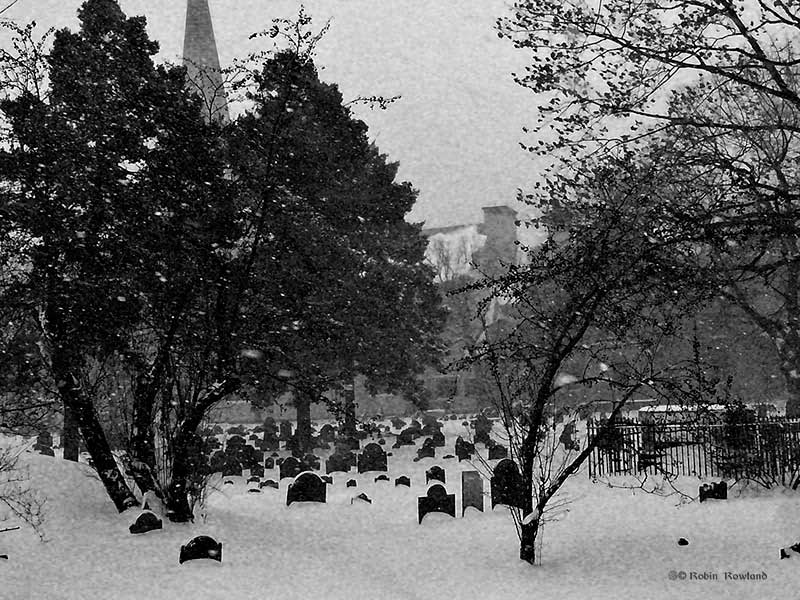 Old Burial Ground, Cambridge, in blizzard