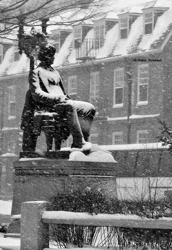 John Harvard in blizzard
