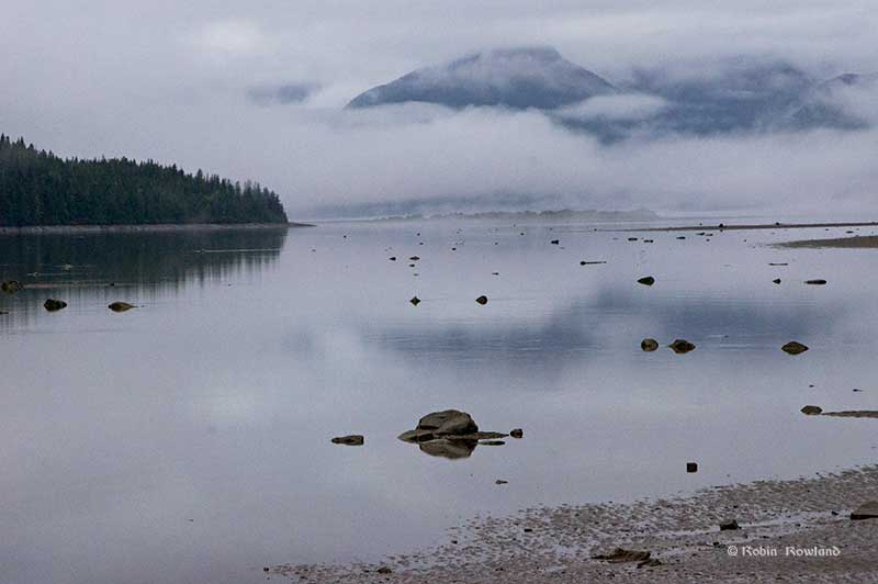 """Super"" low tide on the Skeena River at Telegraph Point, Sept. 28, 2015 (Robin Rowland)"
