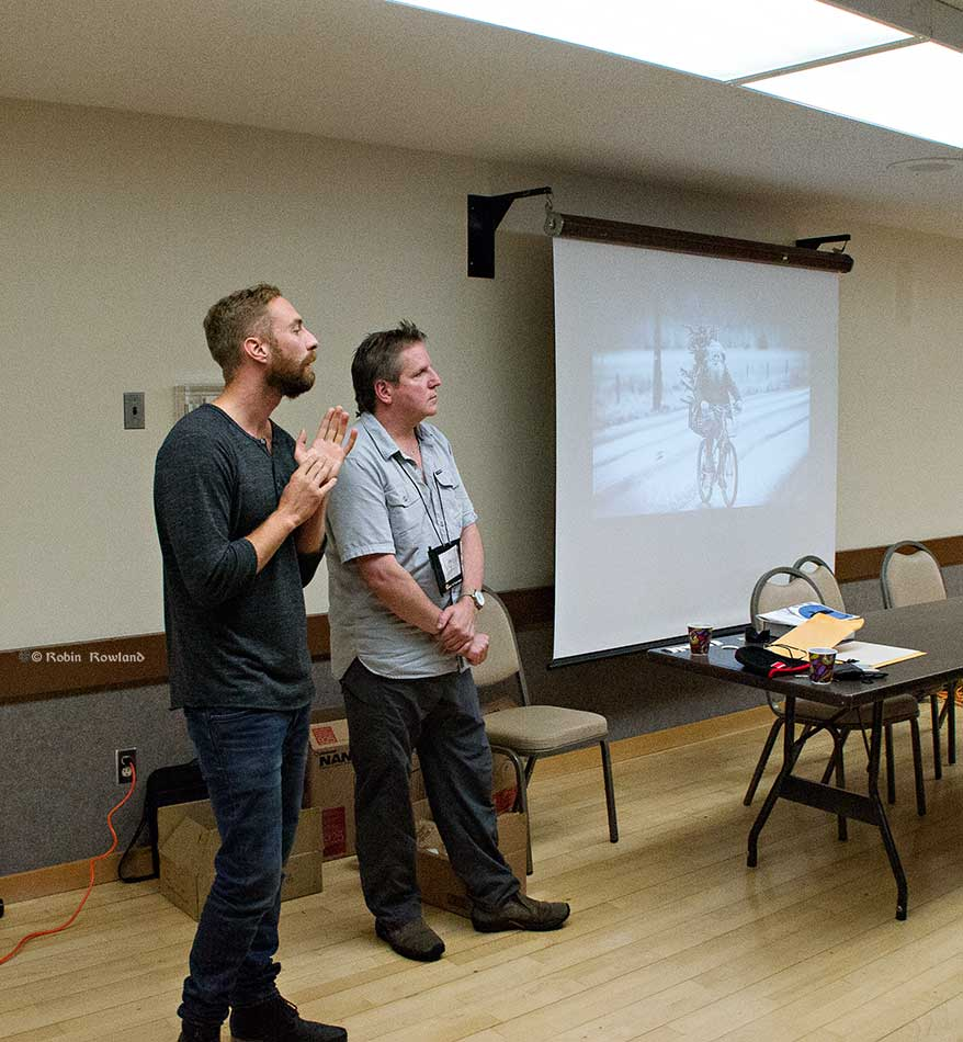 Talon Gillis and Doug Keech discuss the challenges of portraits in a small town at North West Photo Fest. ( Robin Rowland)