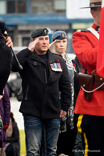 Jason and Serina Parrill, both veterans of the Canadian Armed Forces and who saw tours of duty in the some of the worlds hot spots at the Remembrance Day Service, Kitimat, BC. Nov. 11. 2016. They later laid wreathes on behalf of the Sovereign and Armed Forces respectively.(Robin Rowland)