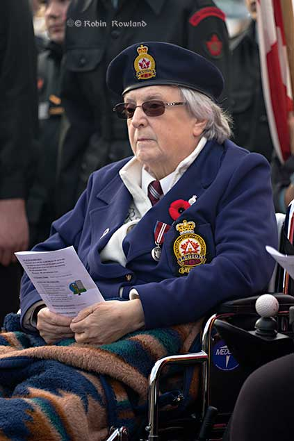 Nancy Grey,president of the Royal Canadian Legion Ladies Auxiliary and its zone commander at the Remembrance Day service in Kitimat. (Robin Rowland)