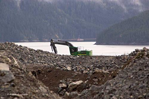 An excavator works on the construction of the Bish Cove project.  Oct. 31,  2104..