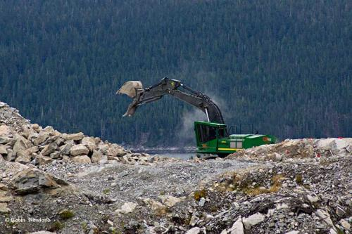 An excavator works on the Chevron-led Kitimat LNG site at Bish Cove, Oct. 5, 2014.