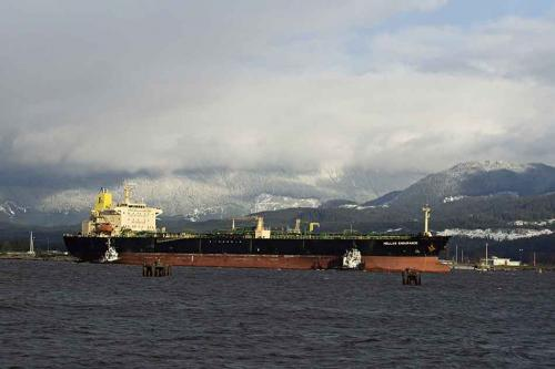 The 27,645 tonne double hulled tanker Hellas Endurance is seen tied up in Kitimat harbour seen on the afternoon of Jan 9, 2012. (Robin Rowland)
