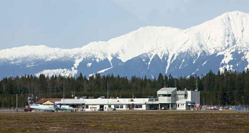 Terrace-Kitimat Northwest Regional Airport, just outside Terrace, BC, is seen during a media tour March 28, 2013. An Air Canada Express-Jazz Bomardier Dash8-300 is seen in front of the terminal building, right. The airport administration and maintenance building is seen on the left. (Robin Rowland)