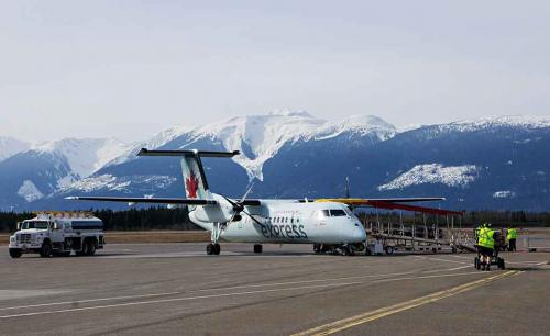 An Air Canada Express-Jazz Bombardier Dash 8-300 is fueled and loaded at Terrace-Kitimat Northwest Regional Airport,  just outside Terrace, BC, March 28, 2013. (Robin Rowland)