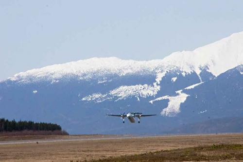 An Air Canada Express-Jazz Bombardier Dash 8-300 takes off from Terrace-Kitimat Northwest Regional Airport, just outside Terrace, BC,  March 28, 2013. (Robin Rowland)