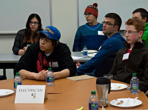 Future  electrician apprentices meet their mentors at an Industrial Training Association meeting in Terrace Jan. 20, 2014.