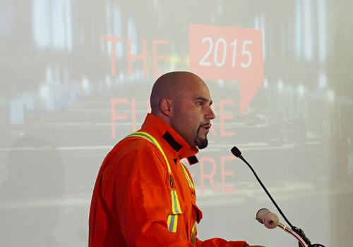 Rio Tinto BC Operations Manager Gaby Poirier addresses the aluminum smelter First Metal Ceremony in Kitimat, July 7, 2015