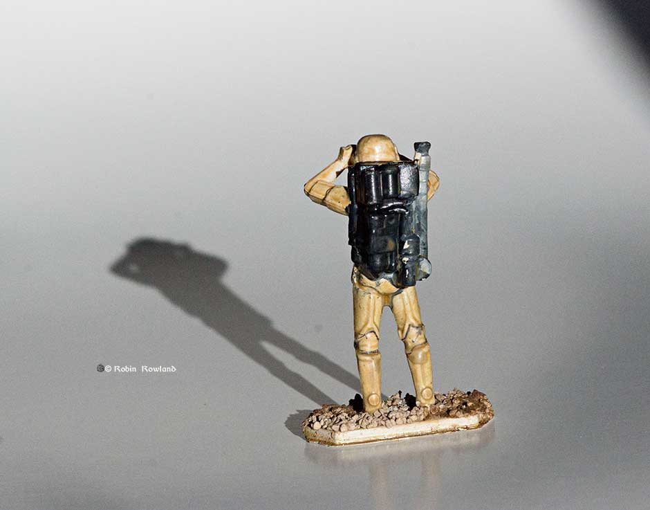Rear view of the Star Wars Command sand trooper. (Robin Rowland)