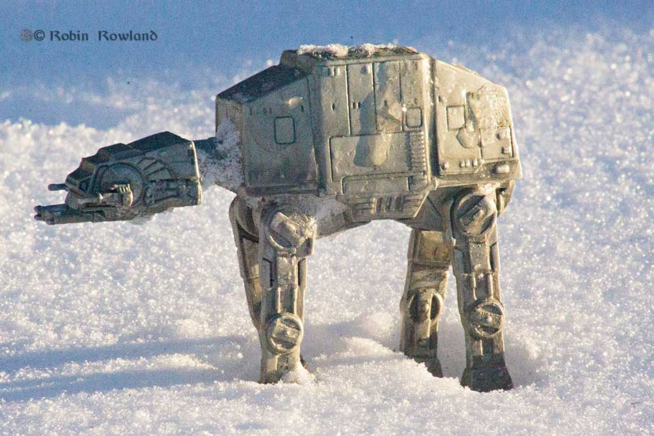 A lone Imperial AT-AT on dawn patrol