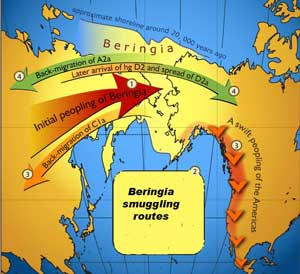 Map showing the human migration Isome say smuggling) rout between Ber and Canada)