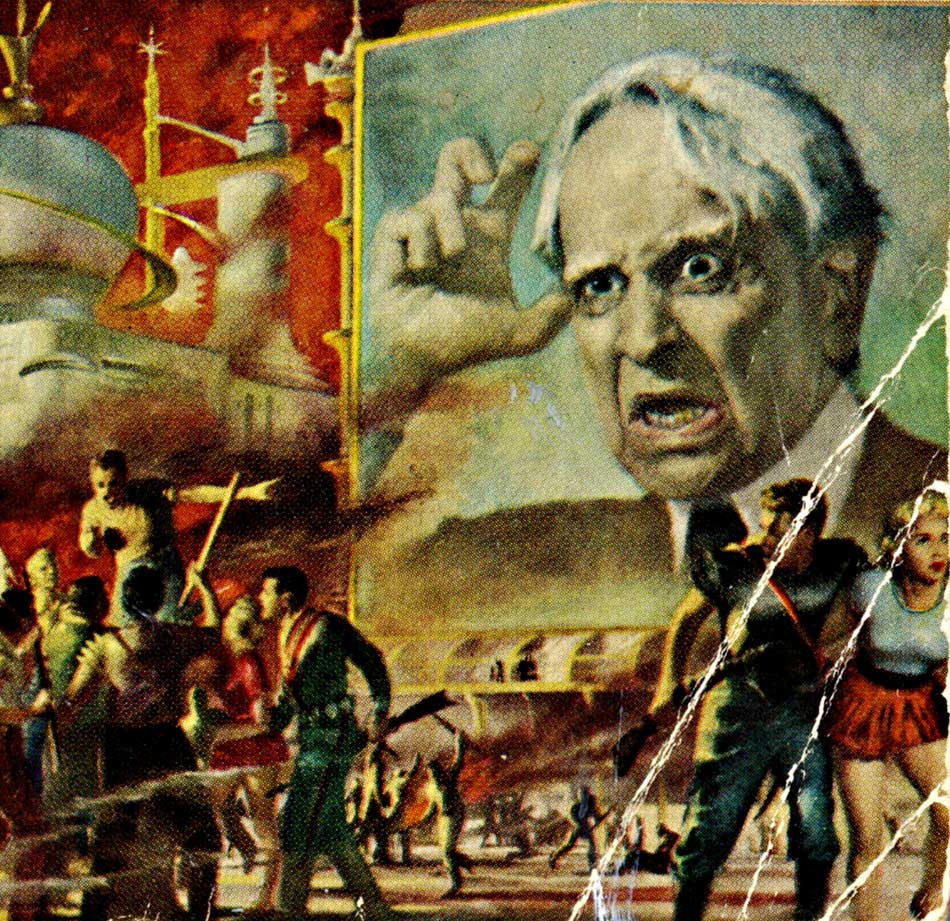 "The battered cover of my 1965 vintage issue of Heinlein's Revolt in 2100, showing a big screen of the ""Prophet"" who ruled the United States in his dystopia."